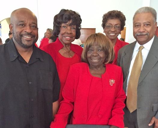 Offering congratulations to Luerena Williams (c) are (l-r) David E. Fossett, Alma Lurry, Rev. Dr. Edna Stafford and Pastor Robert Ned.  (Cora J. Fossett photo)