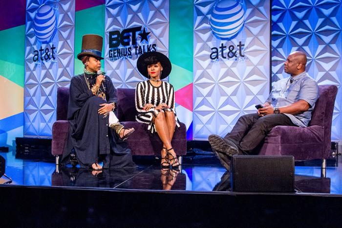 Erkyah Badu and Janelle Monae speak at a Genius Talk session. (Robert Torrance/LA Sentinel)