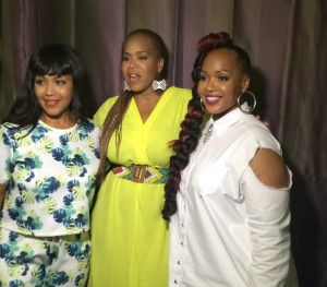 Sisters Erica Campbell, Tina Campbell and Goo Goo photo'd backstage after performance. (Brittany K. Jackson/LA Sentinel)