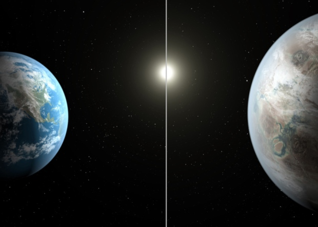 Caption: This artist's rendering made available by NASA on Thursday, July 23, 2015 shows a comparison between the Earth, left, and the planet Kepler-452b. (Nasa/AP)