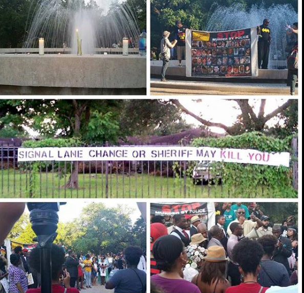 Supporters of Bland held a prayer vigil at Prairie View A&M University on July 19. (Carrie Newman photo)