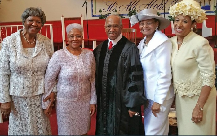 From left are Mrs. Katie Webb, former NBC 3rd vice president; Dr. Hugh Dell Gatewood, Dr. and First Lady J. Benjamin Hardwick, and Sister Faye Williams, WBSC Women's Department.