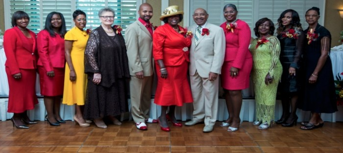Honorees and participants in the 'Honoring Our Leaders of Today - First Ladies of Faith' luncheon included (l-r) Melinda Campbell, Doneka Crutcher, Chereece Monroe, Paulette Alexander, Kyler L. Nathan, III, Grand Worthy Patron, Estella Johnson, Grand Worthy Matron, Most Worshipful Grand Master Lovell Morgan, Jacquelyn Calloway, Barbara Morgan, Dorothy Robinson, and Charlotte Sample.