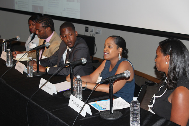 The second set of panelist in order from left to right: Cheyenne Grimes, Kenjus Watson, Donte Miller, Elizabeth Flowers and Charity Chandler (Courtesy Photo)