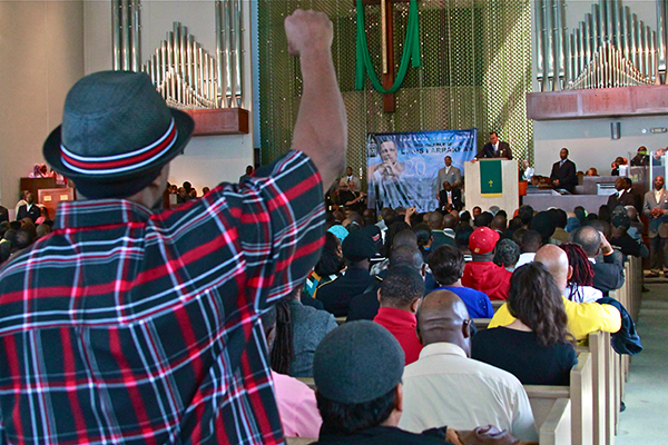 The packed audience during Minister Farrakhan's speech (Courtesy Photo)