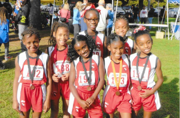 The 8 and under division of the LA Jets cross-country team at the 2014 USA Track and Field Junior Olympics (Courtesy of the Los Angeles Jets Track Team)