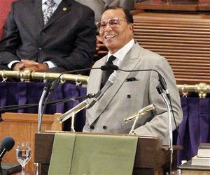 Nation of Islam leader Louis Farrakhan speaks at the Metropolitan AME Church in Washington this week (AP Photo/Glynn A. Hill)