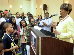Clayola Brown, president of the A. Philip Randolph Institute with participants to the APRI Youth Conference Courtesy Photo