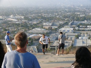 Leony Mendez beats his time at last year's Overlook Challenge on the 282 Stair Climb