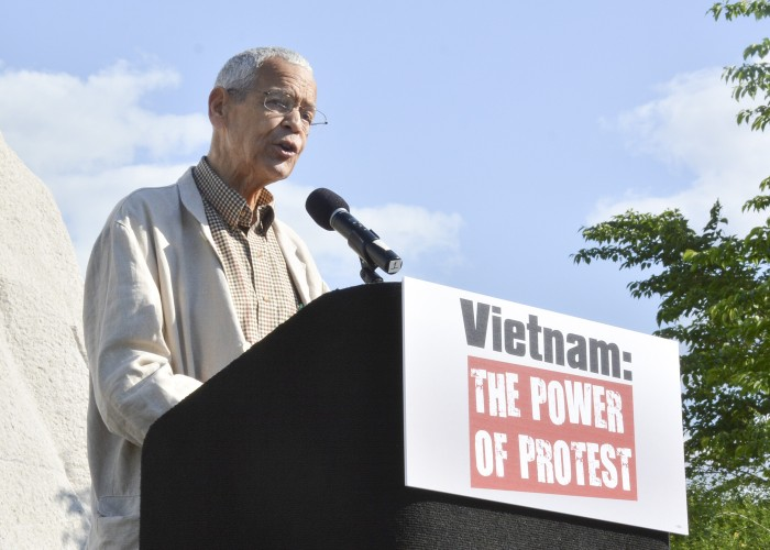 """Julian Bond Speaks to a crowd at the """"Vietnam: The Power of Protest"""" rally at the Martin Luther King Memorial on May 2, 2015 in Southwest Washington, D.C. (Roy Lewis/Washington Informer)"""