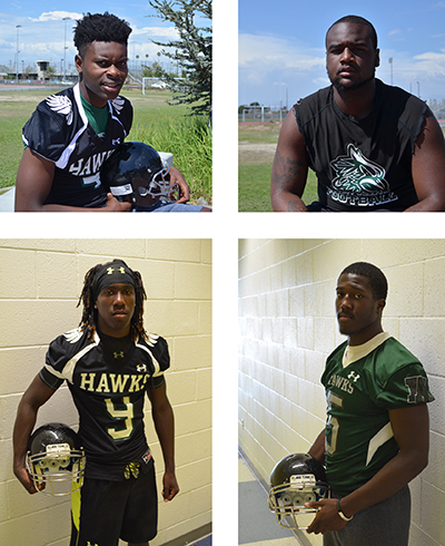 (Top left to right) Joseph Lewis, Willie Ray Griffin,(Bottom left to right) Robert Lewis, and Greg Johnson are preparing for football season on July 30, 2015. (Amanda Scurlock/ LA Sentinel)