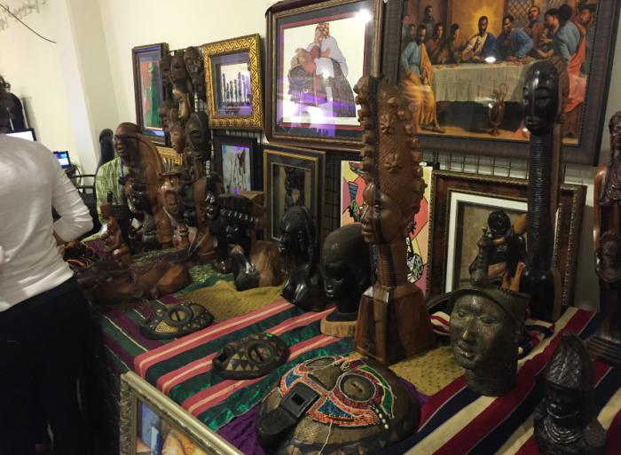 Native Nigerian masks, sculptors and paintings on display at LANX. (Amen Oyiboke/LA Sentinel)