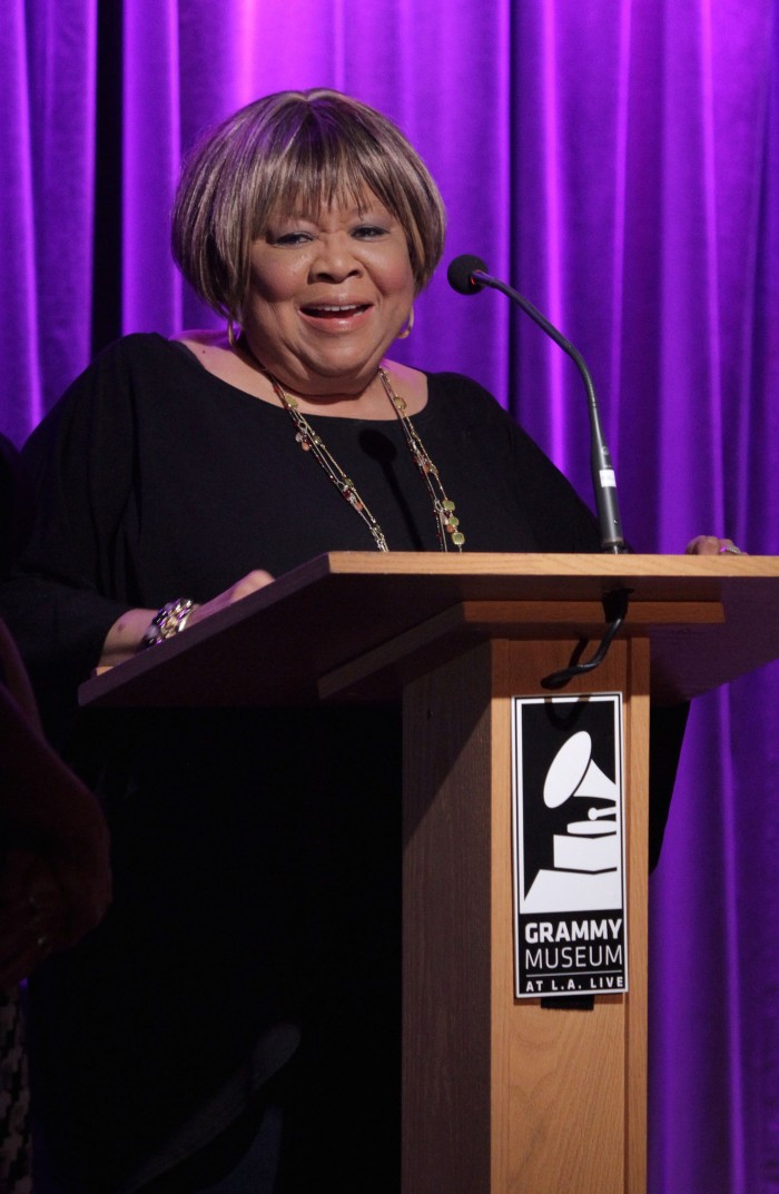 Singer Mavis Staples accepts award at The Woody Guthrie Center Presents Woody Guthrie Prize Honoring Mavis Staples at The GRAMMY Museum on July 22 in Los Angeles.  (Photo by Rebecca Sapp/WireImage)