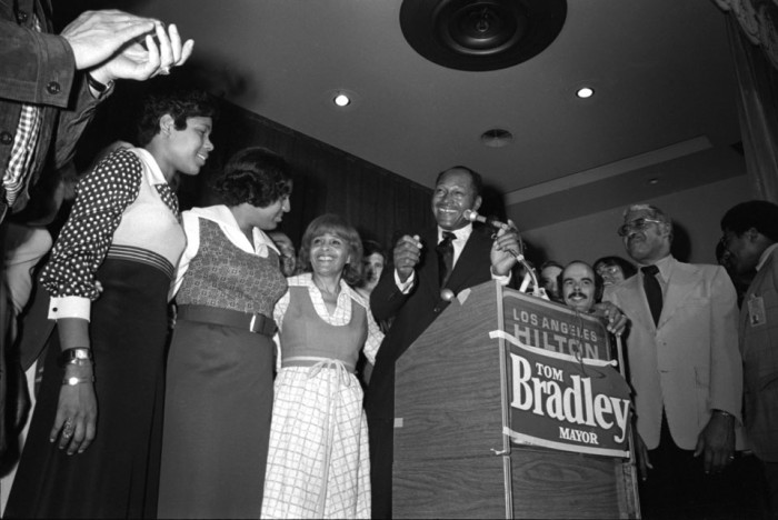 From left to right, Phyllis Bradley, Lorraine Bradley, Ethel Bradley and Tom Bradley as they celebrate the election of Tom Bradley as mayor of Los Angeles in 1973. The photo was taken by Guy R. Crowder and is part of the Tom & Ethel Bradley Center's collection at CSUN.