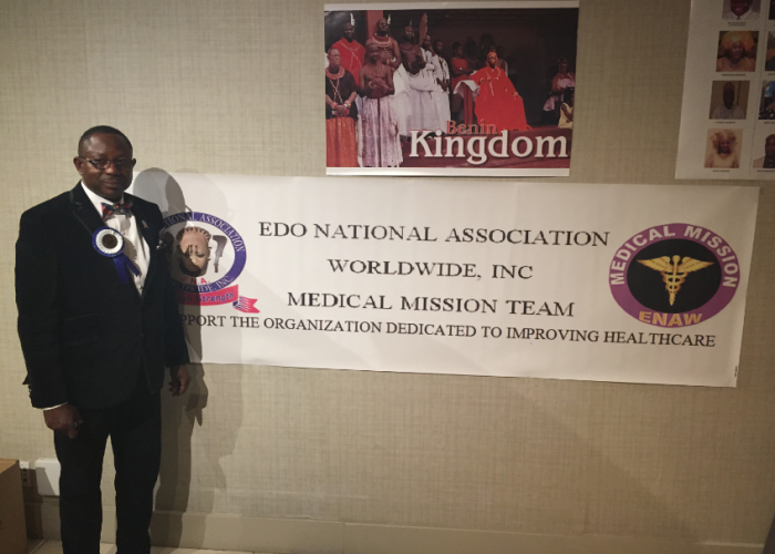President of Edo National Association Worldwide Franklin Omoruna poses in front of the convention entrance. (Amen Oyiboke/LA Sentinel)