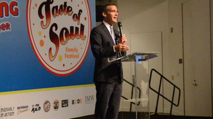 Eric Garcetti addresses the crowd on Friday October 16.