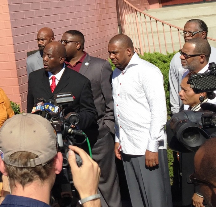 Rev. Kelvin Sauls, Rev. Xavier Thompson and Rev. Kenneth Tulloss were among the pastors speaking at the press conference at Mount Moriah Church on October 26.  (Cora J. Fossett Photo)