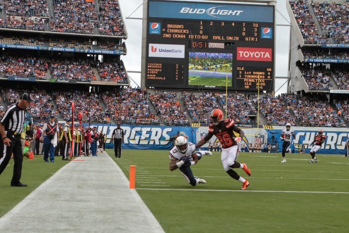 Wide receiver Keenan Allen scores.  Photo:  Jevone Moore