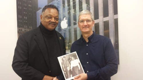 Rev. Jesse Jackson and Apple CEO Tim Cook (Courtesy photo)