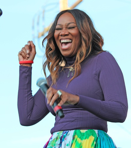 Recording artist Yolanda Adams sings a God-praising, spirit-filled song at the 10th Annual Taste of Soul Family Festival on Oct. 17. (photo by Danelle Cunningham)