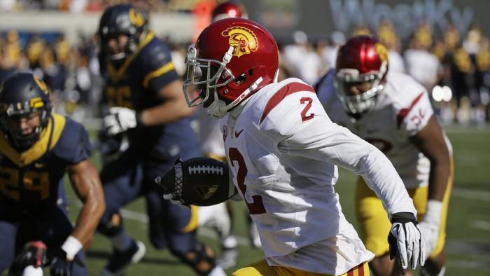 USC's Adoree Jackson Returns Interception 46 yards Against Cal Photo:  AP/Eric Risberg