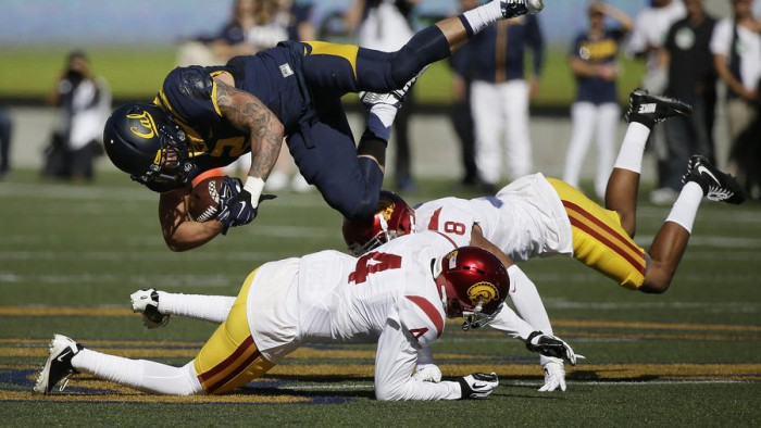 Chris Hawkins & Iman Marshall take care of business against Cal Photo:  AP/Eric Risberg