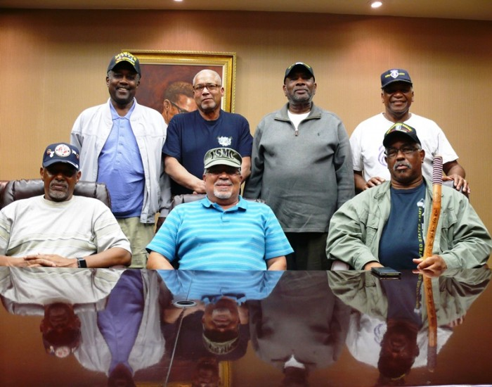 (From Left-to-Right) Back Row: Arthur Jarrett, Ramon Roberts, Hayward Garner & James Null. Front Row: Ronald Jackson, Garnett Overby and Charles O. Green, Jr. Photo by Brian W. Carter