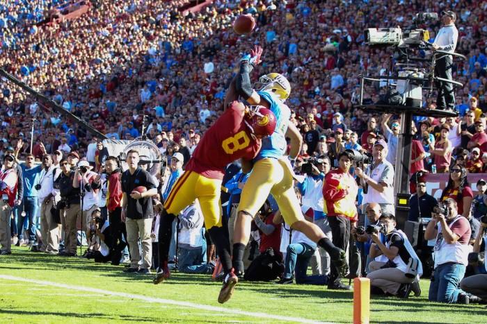 Cornerback Iman Marshall Intercepted 2 UCLA Passes. Photo:  Jordon Kelly