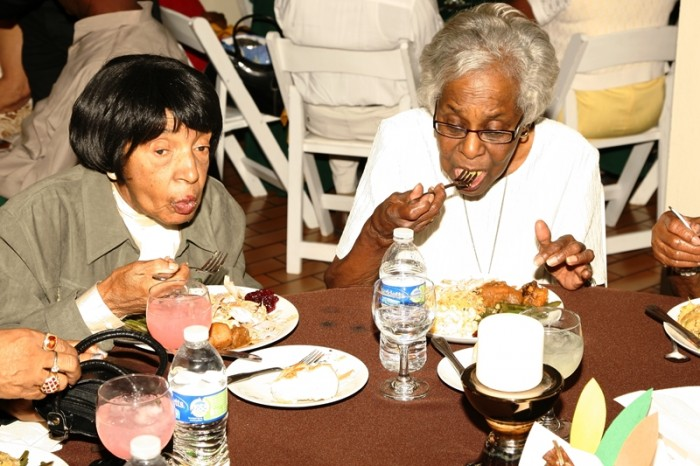 Seniors enjoy Thanksgiving dinner. Courtesy Photo