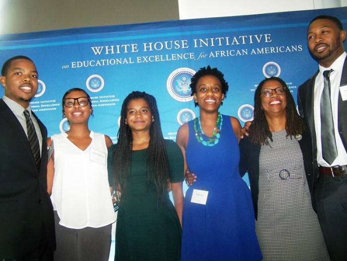 Summit for Educational Excellence for African Americans Summit participants (l to r): Darren Ward, Vandalena Mahoney, Kiana Gums, Makiah Green, (uncredited) and LaRon Armstead. Photo by Shirley Hawkins