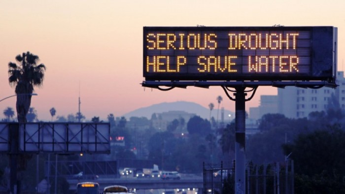 """Los Angeles """"Serious Drought """" sign (AP file photo)"""