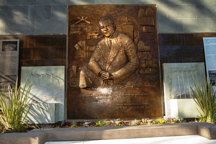 The centerpiece of the monument is a large 7' x 9' sculpture of Paul Williams surrounded by some of his most iconic works.