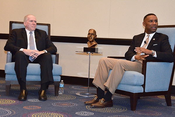 CIA Director John Brennan and Thurgood Marshall College Fund President Johnny Taylor Jr. said they will work together to increase the number of African Americans at the CIA, the nation's foreign intelligence agency.  (Photo by Travis Riddick, Washington Informer)