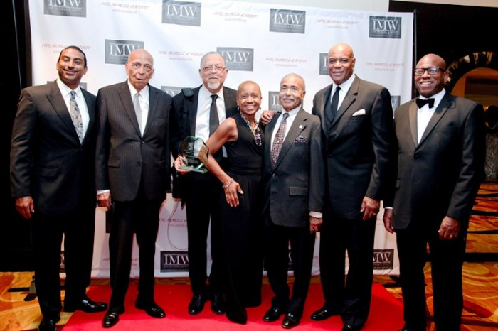 (L-R):  Byron Purcell, Judge Charles R. Scarlett (Ret.), Robert H. McNeill, Jr., Eulanda Matthews, Judge Robert Roberson, Jr. (Ret.), Rickey Ivie, Keith Wyatt. Courtesy Photo