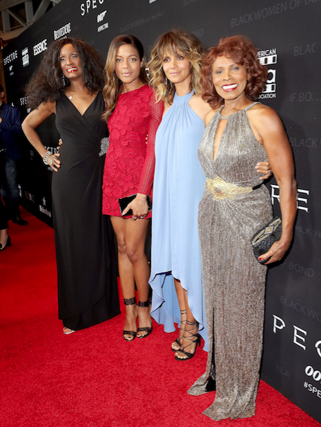 Trina Parks, Naomie Harris, Halle Berry and Gloria Hendry stand together at the Black Women of Bond Tribute. (Getty Images)