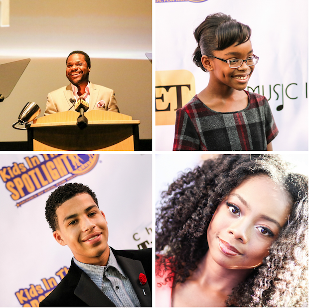 From top-bottom right to left: Malcolm-Jamal Warner presenting at the film Festival. Marsai Martin, Marcus Scribner and Skai Jackson walk the red carpet. (Mark Laing photo)
