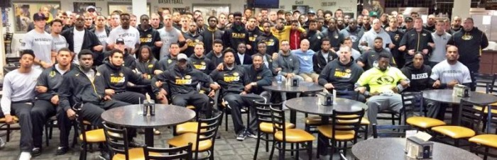 University of Missouri.jpg- Members of the University of Missouri stand together, as they announce that they will not play until the university president steps down. (via Twitter) University of Missouri 2.jpg- photo released by head coach Gary Pinkel of the Missouri Football team (via Twitter)