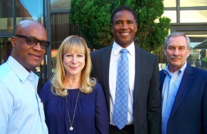 """NFL Hall of Famer and prostate cancer survivor Michael Haynes (second from right) poses with (from left) Deacon Mark Robertson of West Angeles Church of God in Christ; Merel Grey, president of the California Prostate Cancer Coalition; and Tom Kirk, CEO of US Too at """"A Community Conversation on Prostate Cancer Early Detection and Education"""" event held on Nov. 21. (photo by Shirley Hawkins)"""