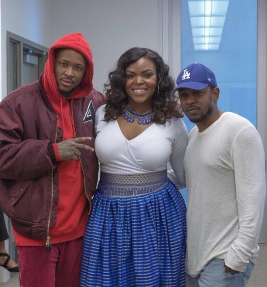 Rap artist YG, Mayor Aja Brown and rap artist Kendrick Lamar (Photos by Jasmyne Cannick )