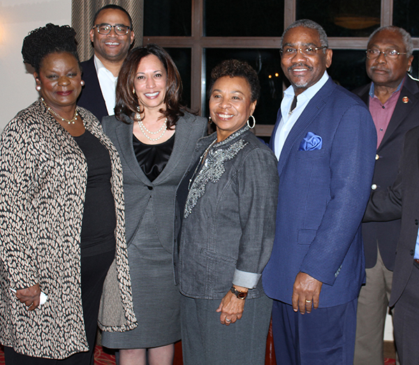 (Left to right) Congresswoman Gwen Moore (D-WI), Congressman Marc Veasey (D-TX), Attorney General Kamala Harris, Congresswoman Barbara Lee (D-CA), Congressman Gregory Meeks (D-NY), Congressman James E. Clyburn (D-SC
