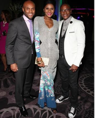 (left) Singer Kenny Lattimore, Ebony Editor-in-Chief Kierna Mayo and actor Tommy Davidson during the Ebony Power 100 gala. (Ebony photo)