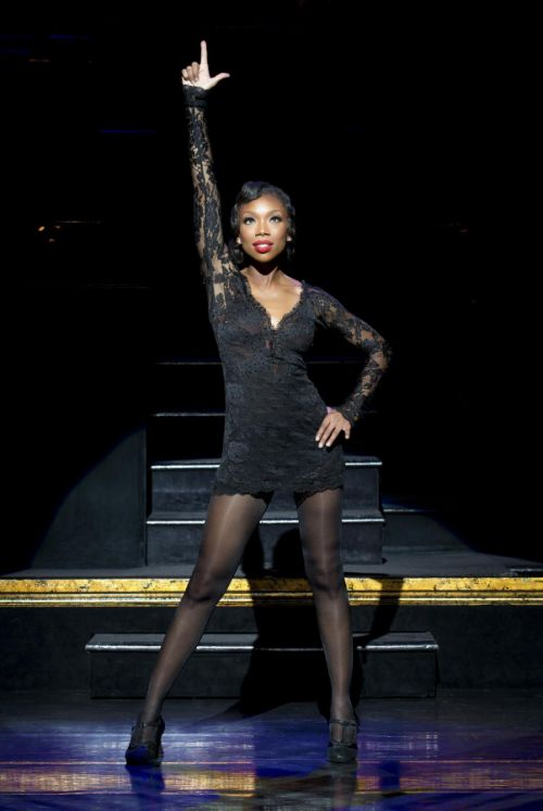 """Brandy Norwood in the role of Roxie Hart during a performance of the musical """"Chicago,"""" at the Ambassador Theatre in New York. Norwood will portray Hart through May 1, 2016 in Los Angeles. (Jeremy Daniel / AP)"""