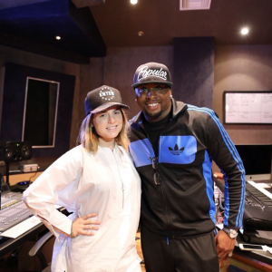 Harmony Samuels and R&B /Pop singer Jo Jo after a session in his North Hollywood Studio. (courtesy photo BOE Global)