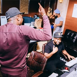 Samuels, Mali Music and Dmile during a recording session. (photo courtesy of BOE)
