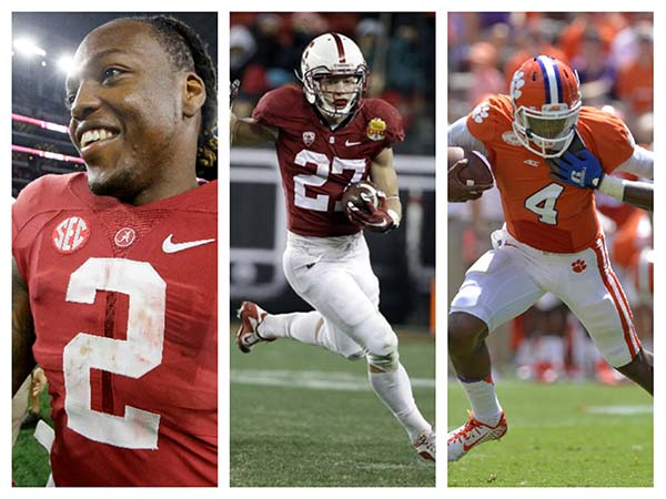 (left to right) Derrick Henry of Alabama, Christian McCaffrey of Stanford, and Deshaun Watson of Clemson