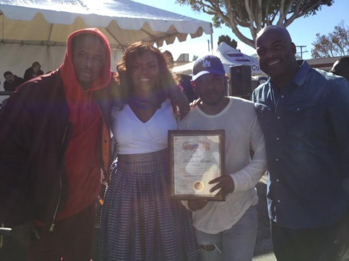 Rap artist YG, Mayor Aja Brown, rap aritist Kendrick Lamar and State Senator Isadore Hall, III. ( Photos by Jasmyne Cannick )