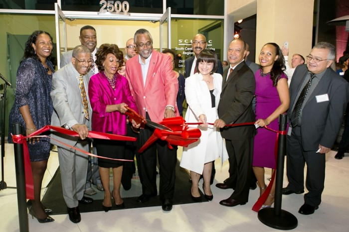 (l to r) Malcolm N. Bennett , President, Friends of SCLARC, Congresswoman Maxine Waters and others.