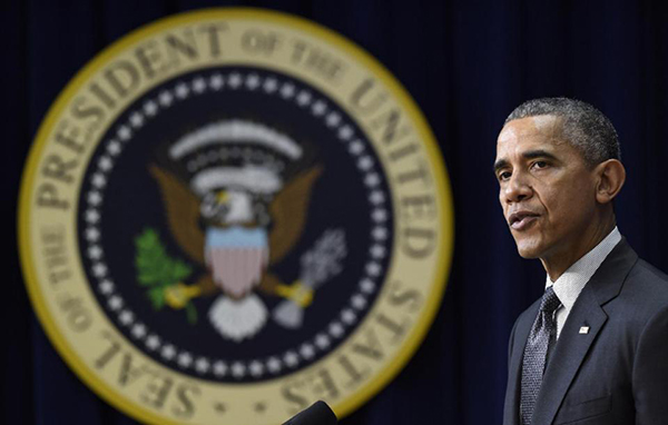 President Barack Obama speaks in Washington Thursday, Dec. 10, 2015, in Washington. While the White House condemns Donald Trump's call for a ban on Muslim immigrants, President Barack Obama may only have himself to blame if a President Trump ever tries to put his plan into action.  (AP Photo/Susan Walsh)