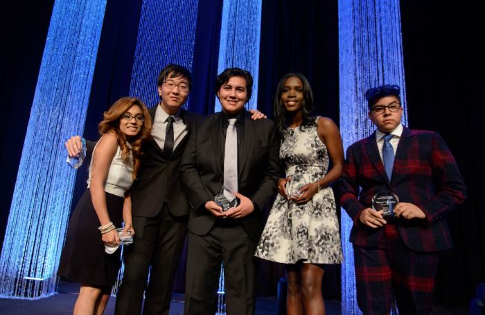 The high school honorees (l-r) are Stephanie Gamino, David Cho, David Sanchez, NiTasha Denson and Vincent Zamarripa. (Courtesy  Photo)