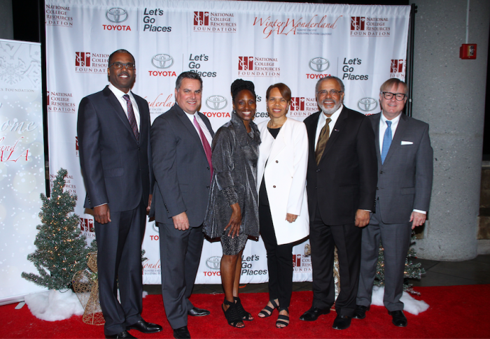 Theresa Price (center-left) founder of the National College Resources Foundation – honors community leaders; LA County Chief -Daryl Osby (left), Lynwood Unified School District Superintendent - Paul Gothold (center-left), Toyota's National Manager -Tracy Underwood (centerright), US Bank's Senior Vice President - Darrell Brown (center-right) and Wells Fargo's Senior Vice President - Jonathan Weedman (right) at the 3rd Annual Winter Wonderland Gala on Thursday, December 3, 2015 held at the California Africa-American Museum.